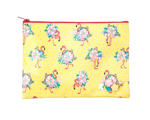 Pink Flamingos Medium Zip Pouch - Yellow