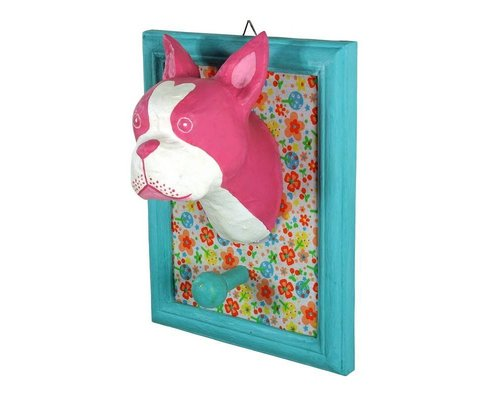 Frame Wall Hanging Bull Dog - Pink