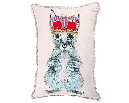 Ginger in Wonderland Cushion Prince of Hares Print and Gold Lace