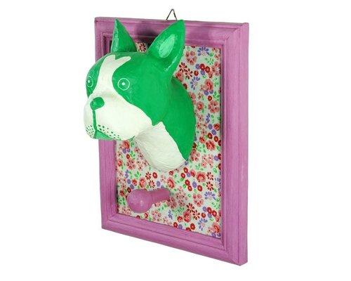 Frame Wall Hanging Bull Dog - Green