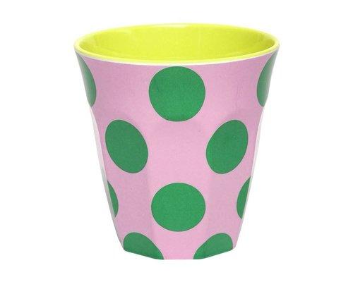 Happy Dots Medium Melamine Cup - Green