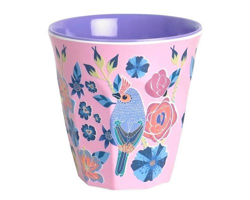 Singing with the Birds Small Melamine Cup   - Pink