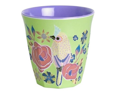 Singing with the Birds Small Melamine Cup - Green