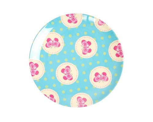 Happy Butterflies Small Melamine Plate - Blue