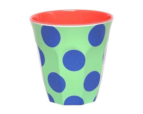 Happy Dots Medium Melamine Cup  - Blue