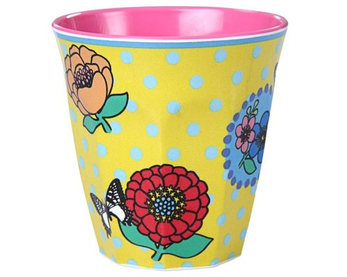 Vintage Flowers Medium Melamine Cup