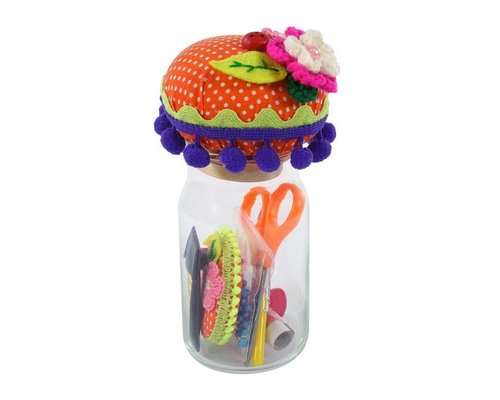 Sewing Kit with Pin Cushion in Glass Jar - Red
