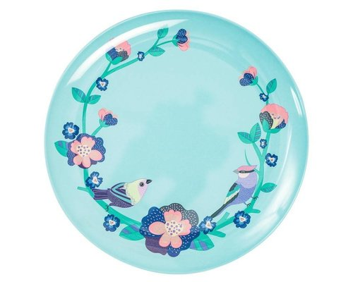 Singing with the Birds Melamine Dinner Plate  - Mint