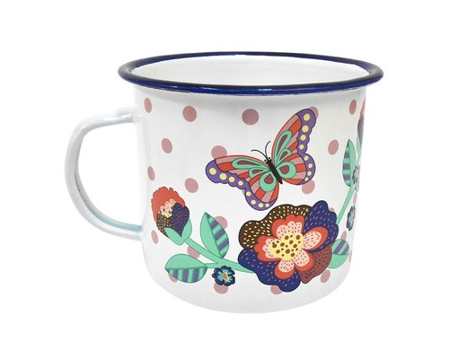 Singing with the Birds Enamel Mug Butterfly