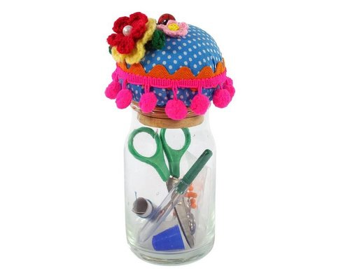 Sewing Kit with Pin Cushion in Glass Jar - Blue