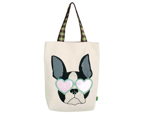 Bull Dog Head Rock & Roll Tote Bag