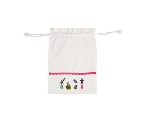Plant&Cactus Drawstring bag - Pink Ribbon