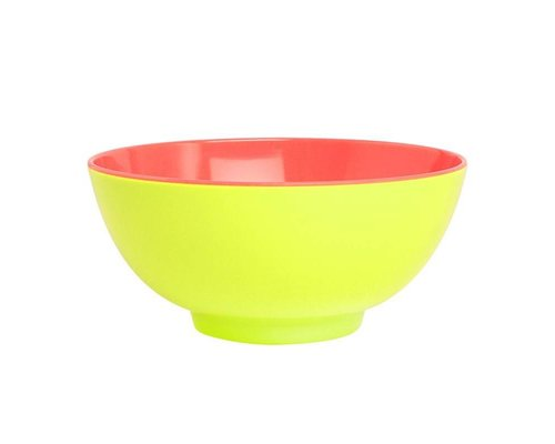 Funky Neon Two Tone Large Melamine Bowl - Lemonade