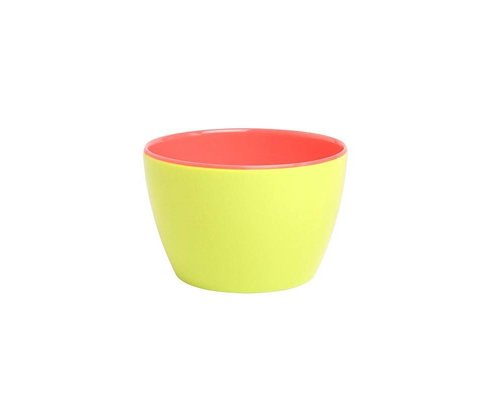 Funky Neon Two Tone Small Melamine Basic Bowl - Lemonade