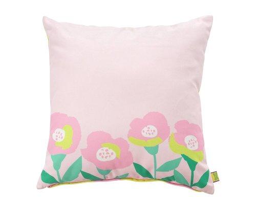 Happy Summer Poppy in Pink Cushion