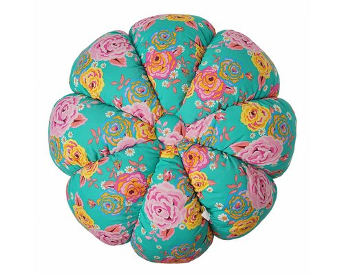 Asian Vintage Flower Large Pumpkin Pouf