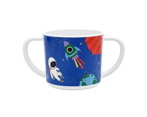 Happy in Space Melamine Mug - two handles