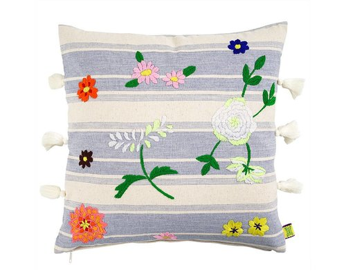 Cushion with Flower Embroidery - Lilac