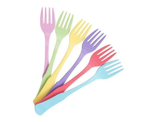 Pastel Colours Vintage 6 Melamine Cake Forks