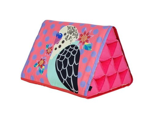 Singing with the Birds Large Triangle Cushion - Coral