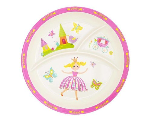 Lovely Princess Round Melamine Compartment Plate