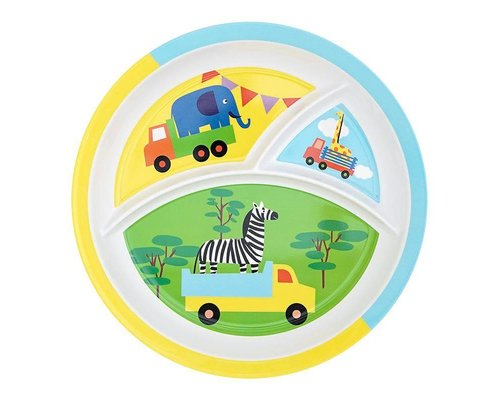 Safari Fun Round Melamine Compartment Plate