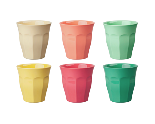 Medium Melamine Cup set - Yellow/Coral/Green