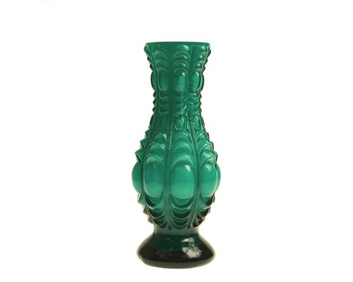 Glass Vase Vintage Style - Opal Emerald Green