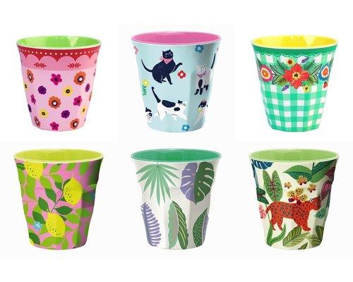 Medium cup set - 6 melamine bekers met print 4