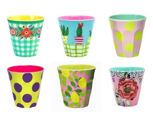 Medium cup set - 6 melamine bekers met print 5