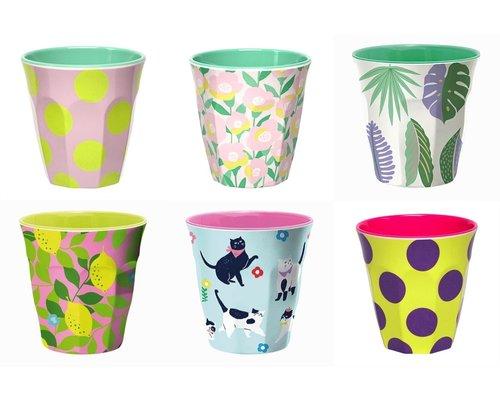 Medium cup set - 6 melamine bekers met print 6