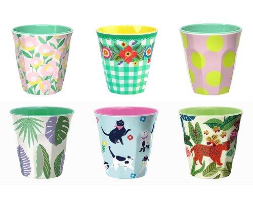 Medium cup set - 6 melamine bekers met print 8