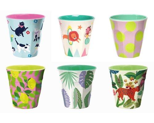 Medium cup set - 6 melamine bekers met print 9