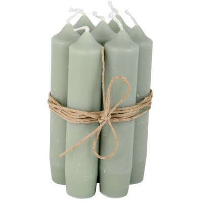Short candle dusty green 7st