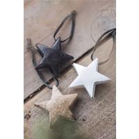 IB Laursen houten ster met leren hanger wit