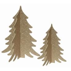 Decor boompjes goud met glitter