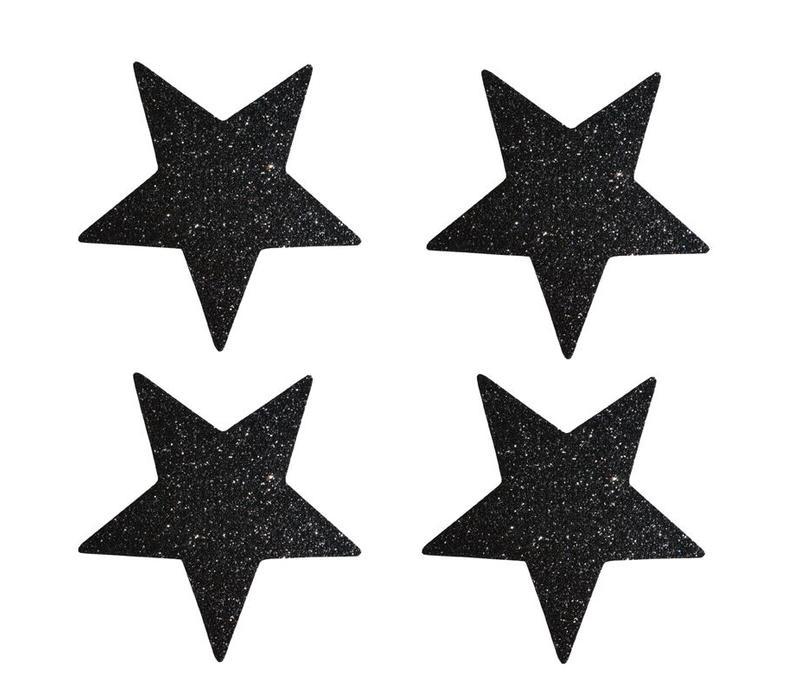 Ster Stickers met zwarte glitter