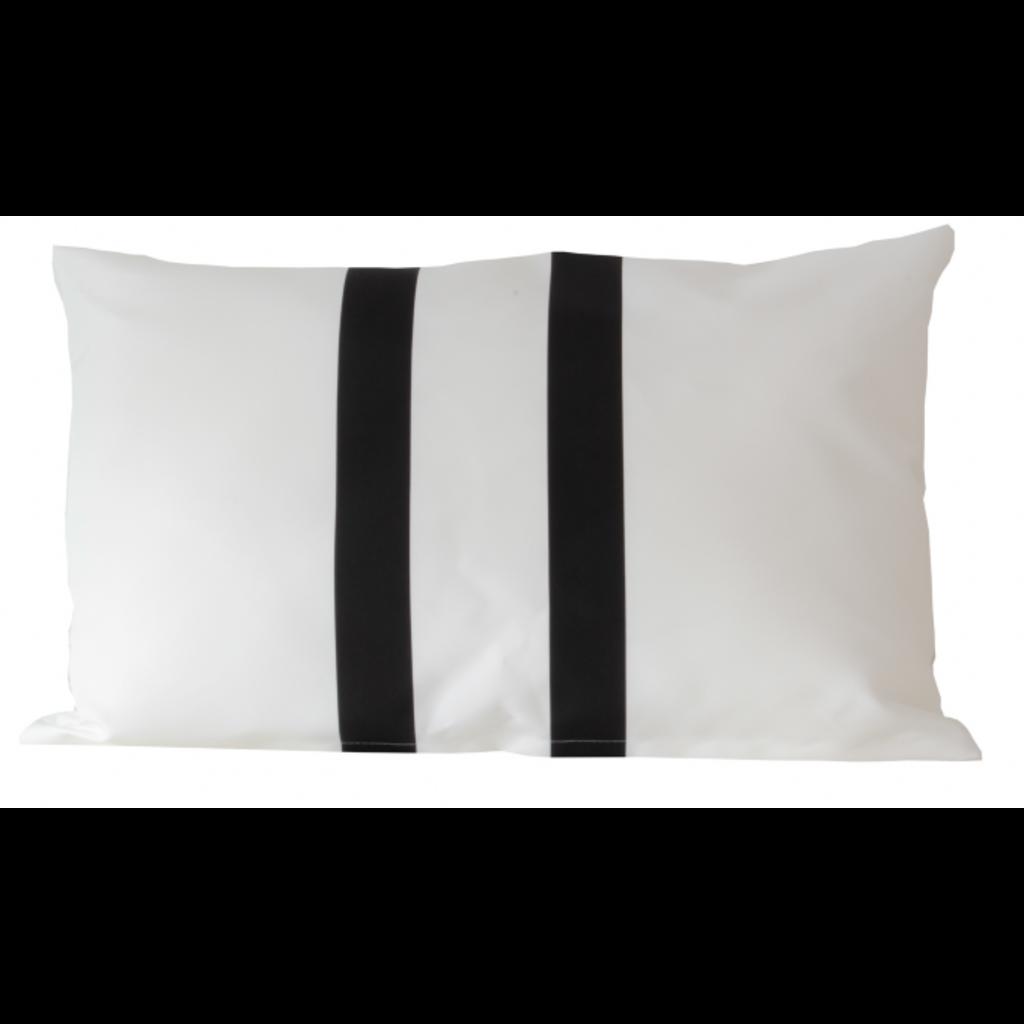 Buitenkussen wit met zwarte strepen