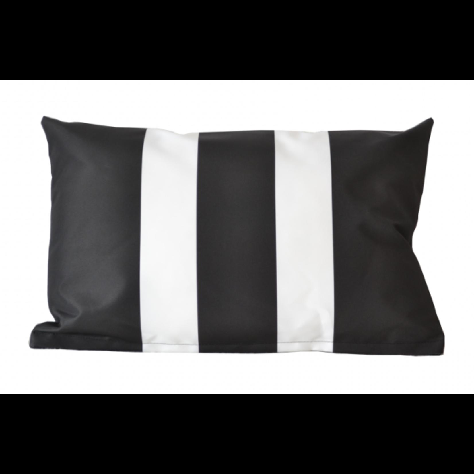 Buitenkussen zwart met witte strepen