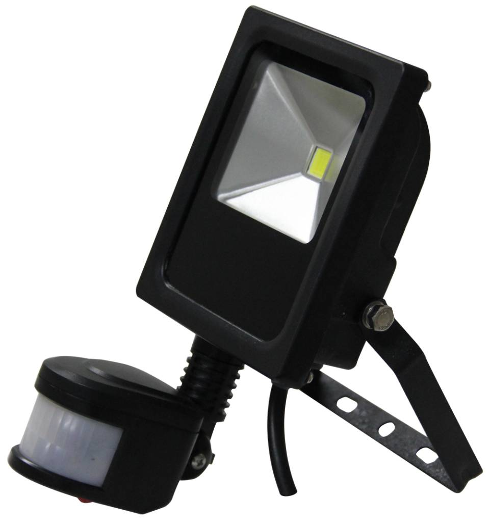 Beroemd LED Schijnwerper 10W 700lm IP65 externe PIR sensor daglicht wit WG84