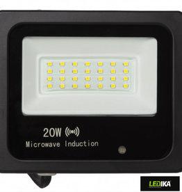 Ledika LEdika Led  Schijnwerper 20W 2835lm IP65 interne PIR sensor daglicht wit