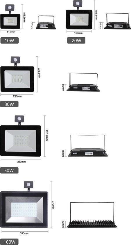 Ledika LED Schijnwerper 10W 900lm IP65 externe PIR sensor daglicht wit