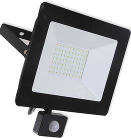 Ledika LED Schijnwerper 50W  - Met bewegingssenor -  IP65 – Zwart Neutraal wit