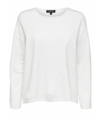Selected Femme 16064152 SLFMINNA ls knit o/meck noos snow white