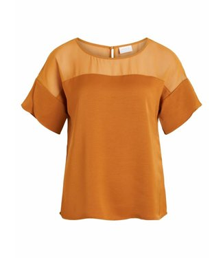 Vila 14048667 Vicause S/S Flounce Top Cathay Spice South