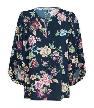 Summum 2s2091-10640 Top wide sleeve flower print 491 - Night blue