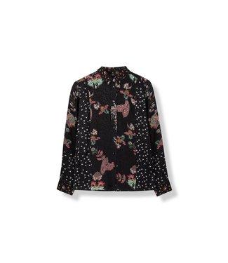 Alix 185922736-999 ladies woven patchwork blouse Black