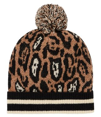 Maison Scotch 147508-17 Knitted beanie in animal pattern whit sporty rib