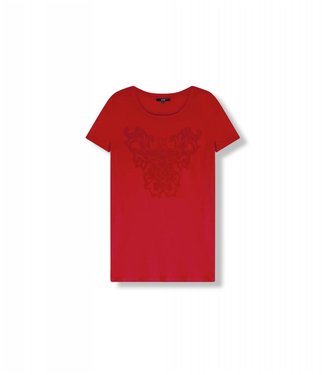 Alix 185858770-501 ladies knitted boxy t-shirt Orange red
