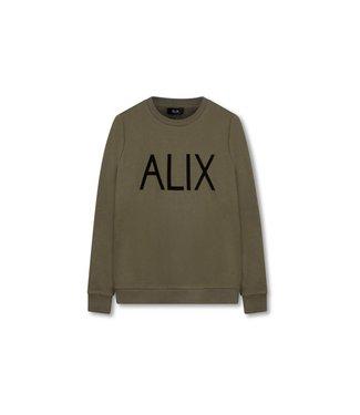 Alix 185821803-782 ladies knitted ALIX sweater flock print Cedar green